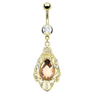 Piercing nombril doré à pendentif style royal