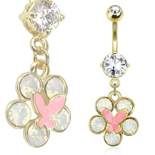 Piercing nombril doré avec papillon rose sur fleur