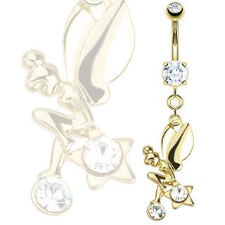 Piercing nombril doré fée assise sur une étoile