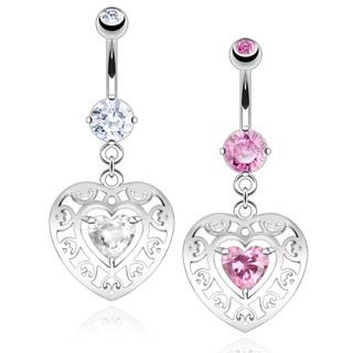 Piercing nombril double coeur à arabesques