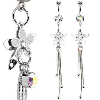 Piercing nombril double-fleur avec chainettes