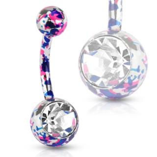 Piercing nombril en acier avec éclaboussures de peinture roses et bleues