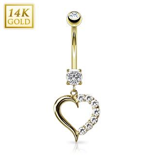 Piercing nombril en or 14 carats avec coeur pavé de zirconiums
