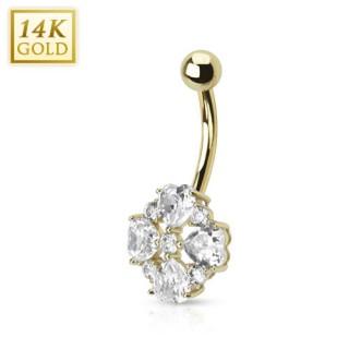 Piercing nombril en or 14 carats avec fleur à pétales en coeurs