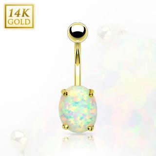 Piercing nombril en or 14 carats avec pierre d'Opale