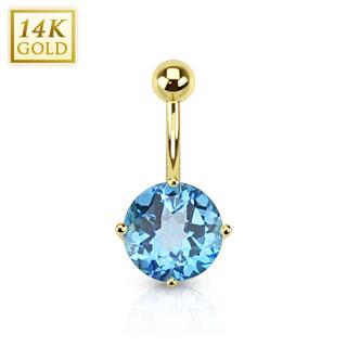 Piercing nombril en or 14 carats serti d'un Topaze bleu