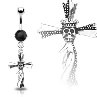 Piercing nombril gothique crane de roi sur croix