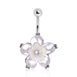 Piercing nombril fleur aspect nacré avec perle au centre