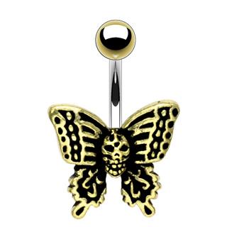 Piercing nombril gothique noir et doré avec crane