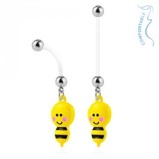 Piercing nombril grossesse abeille jaune et noire