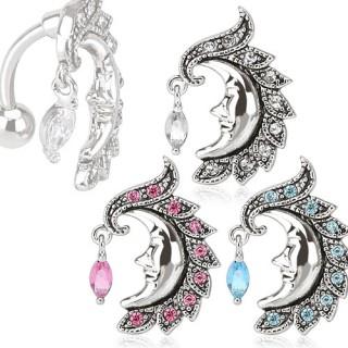 Piercing nombril inversé à croissant de lune avec visage