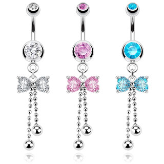 Piercing nombril noeud papillon et cascades de billes