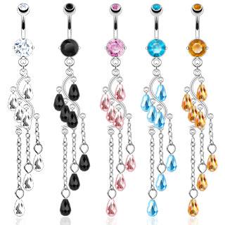 Piercing nombril ondulé à chaines perlées