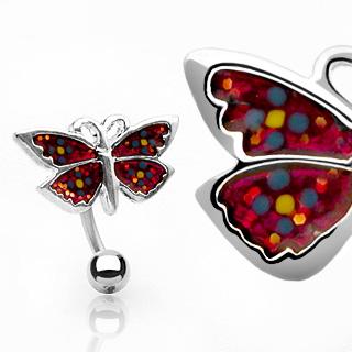 Piercing nombril papillon rouge à pois multicolores