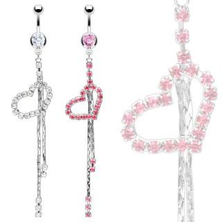 Piercing nombril pendentif coeur et chaînes