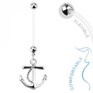 Piercing nombril pour femme enceinte avec ancre de marine