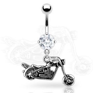 Piercing nombril rock moto biker