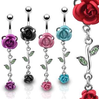 Piercing nombril roses et feuilles