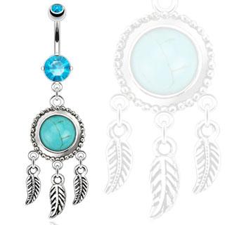 Piercing nombril style amérindien piège à rêve avec turquoise