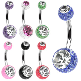 Piercing nombril zircon et paillettes