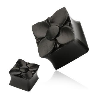 Piercing plug carré fleuri noir en bois Areng