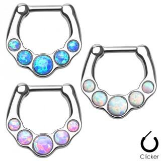 Piercing septum en acier à clip serti de 5 pierres d'Opale