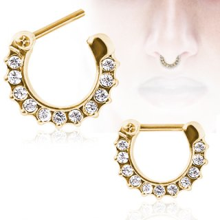 Piercing septum plaqué or à arc de strass clairs