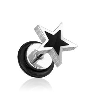 Piercing style faux plug étoile noire et grise