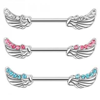 Piercing téton avec ailes d'ange serties