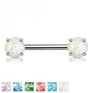 Piercing téton en acier à embouts d'opale synthétique