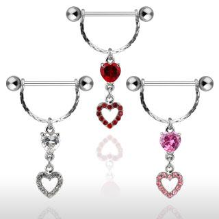 Piercing téton pendentif double coeur