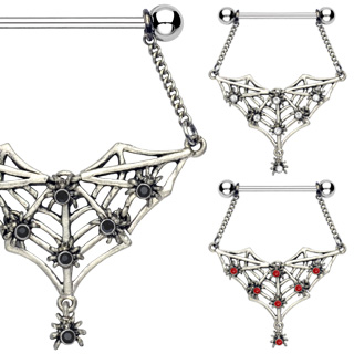 Piercing téton Spiders and Bat Web Dangle