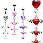 Piercing nombril triple pendentif de coeurs ailés