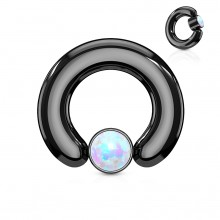 Anneau écarteur noir à cylindre captif serti d'une opale