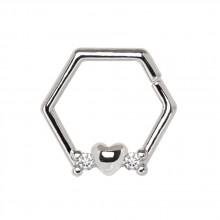 Anneau héxagonal à coeur et strass