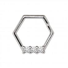 Anneau héxagonal à trio de strass