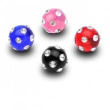 Boule acrylique strass pour piercing (remplacement - pour tige 1,6mm)