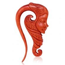 Ecarteur en bois Sawo à visage de sirène sculpté
