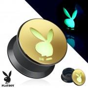 Ecarteur noir et doré type plug avec lapin playboy phosphorescent