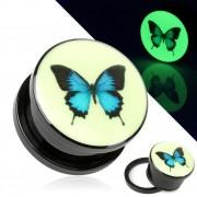 Ecarteur noir type plug phosphorescent avec papillon bleu