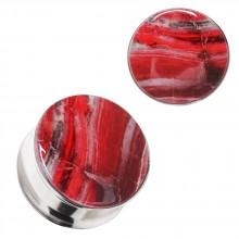 Ecarteur plug acier et résine sanguine marbrée