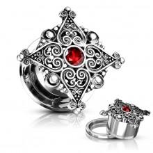 Ecarteur plug à coeurs style antique et pierre rouge