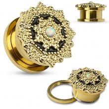 Ecarteur plug doré en acier à bouclier tribal perlé en laiton avec Opale
