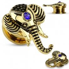 Ecarteur plug doré en acier avec tête d'éléphant en laiton