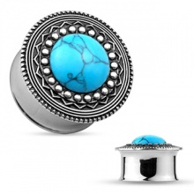 Ecarteur plug en acier à face style bouclier antique en laiton et turquoise