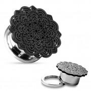 Ecarteur plug en acier à fleur tribale noire