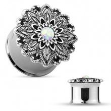 Ecarteur plug en acier à fleur vintage en laiton sertie d'une Opale