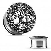 Ecarteur plug en acier avec face à arbre de vie en laiton