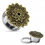 Ecarteur plug en acier avec fleur de Lotus style antique
