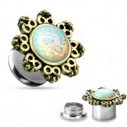 Ecarteur plug en acier avec opale synthétique et couronne tribale
